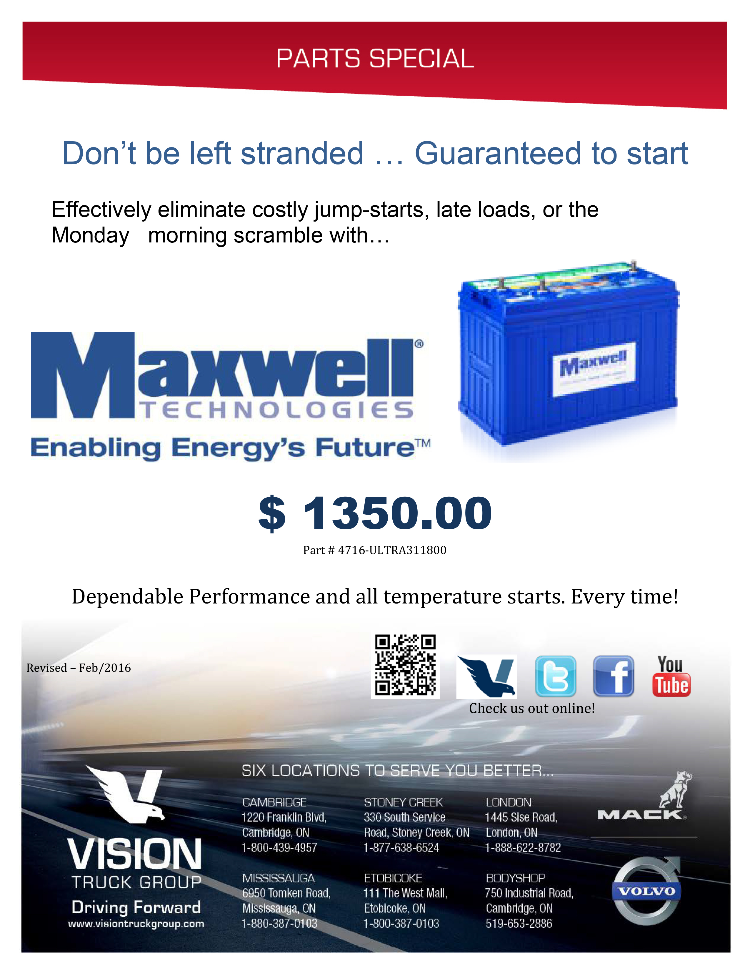 Maxwell Technologies Battery Promotional Flyer